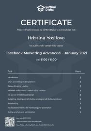 facebook marketing advanced – january 2021 - certificate